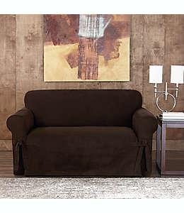 Funda para sillón de dos plazas Sure Fit® Designer, de gamuza asargada en chocolate