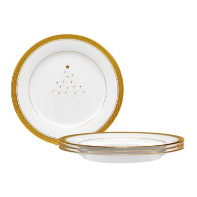 Noritake® Crestwood Gold Holiday Accent Plate (Set of 4)  sc 1 st  Bed Bath u0026 Beyond & Buy Decorative Plates Set of 4 from Bed Bath u0026 Beyond
