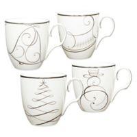 Noritake® Platinum Wave Snowman/Bell/Tree/Sleigh Holiday Mugs (Set of 4)