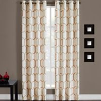 Portinari Grommet Top 84-Inch Window Curtain Panel in Papaya