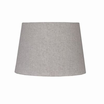 10-Inch Herringbone Hardback Drum Lamp Shade in Grey