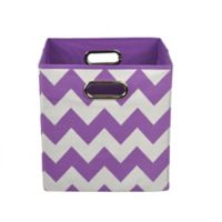 Modern Littles Chevron Folding Storage Bin in Color Pop Purple