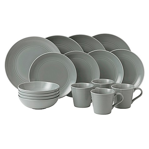 Gordon Ramsay By Royal Doulton® Maze 16 Piece Dinnerware Set In Dark Grey    Bed Bath U0026 Beyond