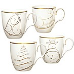 Noritake® Golden Wave Snowman/Bell/Tree/Sleigh Holiday Mugs (Set of 4)