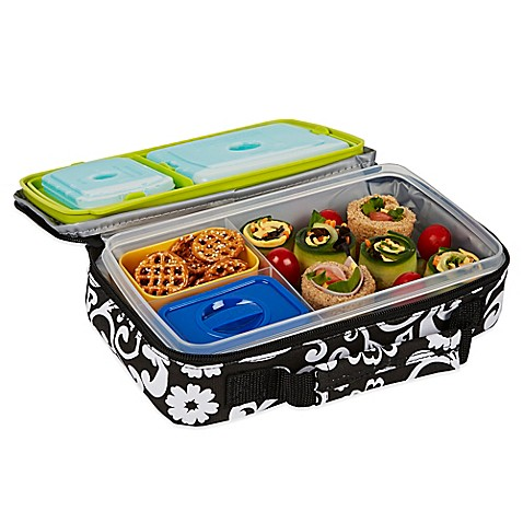 buy fit fresh bento lunch box kit in black from bed bath beyond. Black Bedroom Furniture Sets. Home Design Ideas