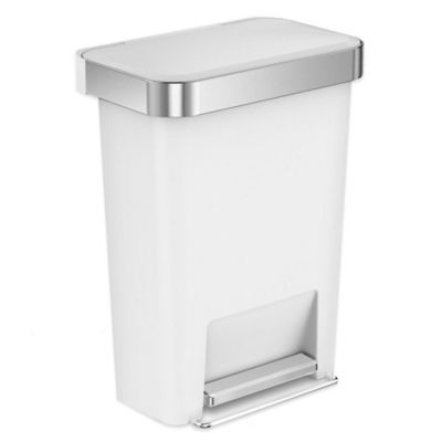 simplehuman 45liter plastic rectangular step trash can with liner pocket in white