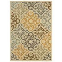 Oriental Weavers Bali Diamonds 5-Foot 3-Inch x 7-Foot 6-Inch Indoor/Outdoor Rug in Gold
