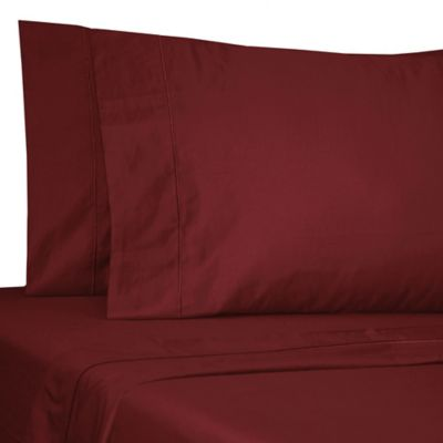 Buy satin luxury queen sheet set in red from bed bath beyond for Silk sheets queen bed bath beyond