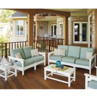 POLYWOOD® Club 5-Piece Deep Seating Conversation Set in White/Blue