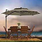 11-Foot Round Solar Cantilever Umbrella in Mocha