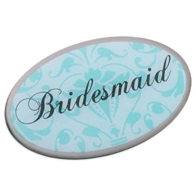 Lillian Rose™ Bridesmaid Oval Pin in Aqua