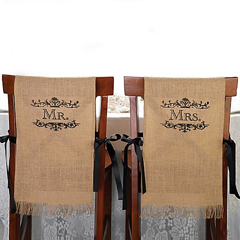 Lillian rose mr and mrs burlap chair covers bed for Mr and mrs spa