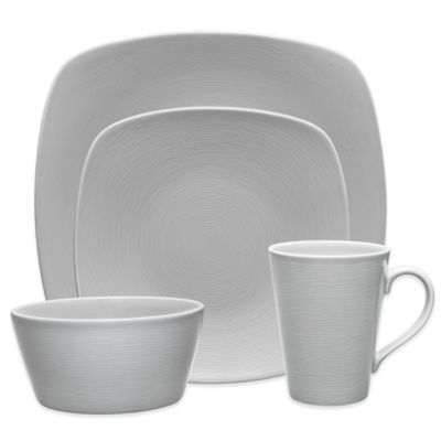 Noritake® Grey on Grey Swirl 4-Piece Square Place Setting  sc 1 st  Bed Bath \u0026 Beyond & Buy Gray Square Dinnerware Sets from Bed Bath \u0026 Beyond