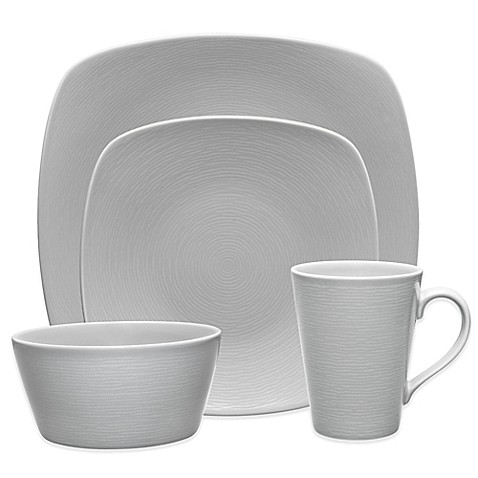 Noritake 174 Grey On Grey Swirl Square Dinnerware Collection