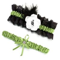 Lillian Rose™ 2-Piece Green & Black Garter Set