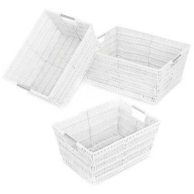 Rattique Storage Baskets in White (Set of 3)  sc 1 st  Bed Bath u0026 Beyond & Buy Corner Storage Baskets from Bed Bath u0026 Beyond