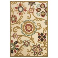 Feizy Floral 7-Foot 6-Inch Round Indoor/Outdoor Rug in Sand/Light Gold