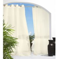 Commonwealth Home Fashions Cote d' Azure 84-Inch Grommet Semi-Sheer Window Curtain Panel in Ivory