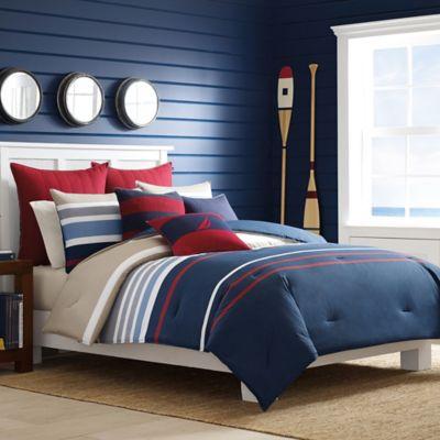 Nautica® Bradford Full/Queen Comforter Set in Navy/Red