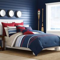 Nautica® Bradford Full/Queen Duvet Cover Set in Navy/Red