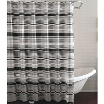 grey shower curtain liner. PEVA Raya Shower Curtain in Black Grey Buy from Bed Bath  Beyond