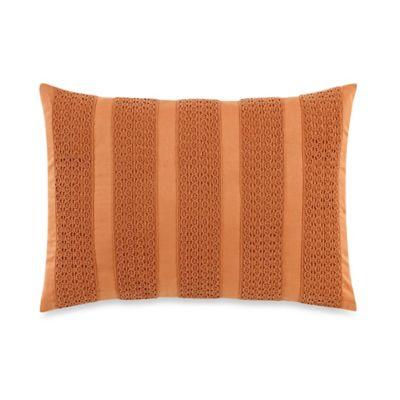 laura ashley bracken leaf striped oblong throw pillow in orange