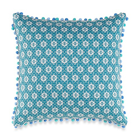 Anthology Kaya Pom-Pom Oblong Throw Pillow in Blue - Bed Bath & Beyond