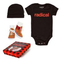 "Trumpette Size 6-12M 3-Piece ""Radical"" Bodysuit, Hat & Socks Gift Set in Red/Black"