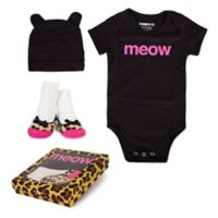 "Trumpette Size 12-18M 3-Piece ""Meow"" Bodysuit, Hat & Socks Gift Set in Black"