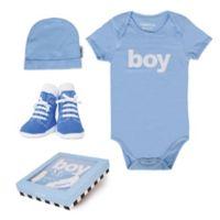 """Trumpette Size 12-18M 3-Piece """"Boy"""" Bodysuit, Hat & Socks Gift Set in Blue"""
