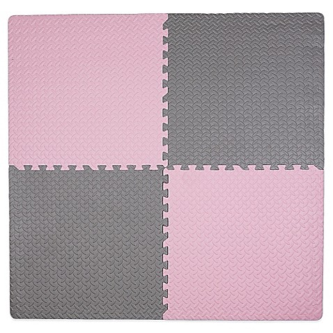 Tadpoles™ by Sleeping Partners 4-Piece Steel Plate Play Mat in Pink/Grey