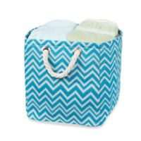 Small Chevron Tote Bin with Rope Handles in Blue/White