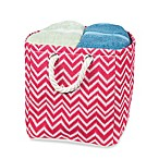 Small Chevron Tote Bin with Rope Handles in Red/White