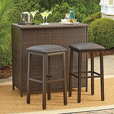 Barrington Wicker Deluxe Outdoor Bar And Barstools Bed Bath Beyond