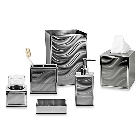 Moire silver bath ensemble bed bath beyond for Black glass bathroom accessories