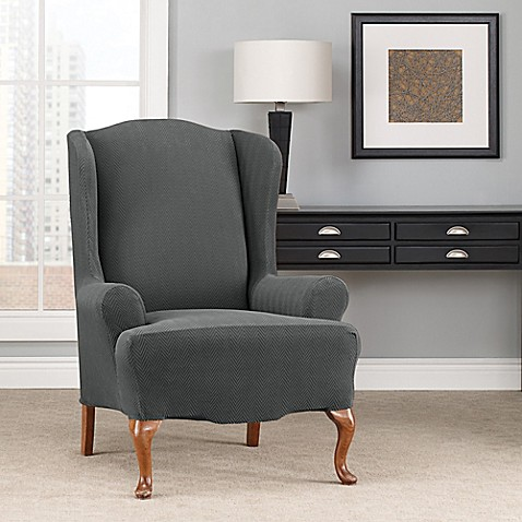 Sure Fit 174 Modern Chevron Wingback Chair Slipcover Bed