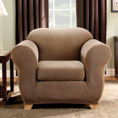 sure fit madison stripe chair slipcover in brown