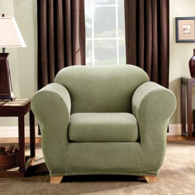 Superieur Sure Fit® Madison Stripe Chair Slipcover In Sage