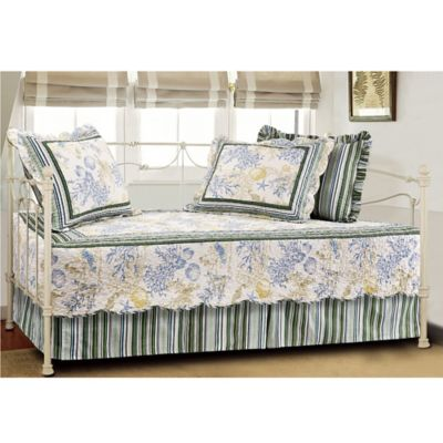 coral coastal quilted reversible daybed bedding set in blue