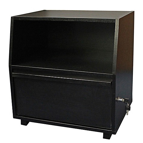 Side Table with Lock in Black - Bed Bath & Beyond