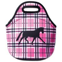 Tek Trek Neoprene Zippered Lunch Tote with Black Horse Graphic in Pink Plaid