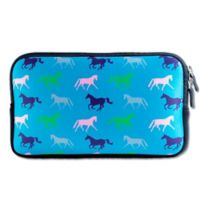 Tek Trek Neoprene Zipper Bag with Galloping Horses Graphic in Teal