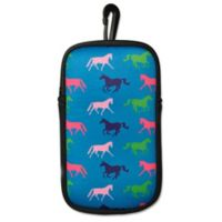 Tek Trek Neoprene Phone Case with Galloping Horse Images in Teal