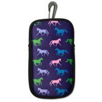 Tek Trek Neoprene Phone Case with Galloping Horse Images in Purple