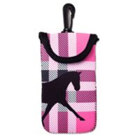 Tek Trek Neoprene Velcro® Phone Case with Black Horse Graphic in Pink Plaid