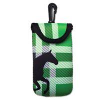 Tek Trek Neoprene Velcro® Phone Case with Black Horse Graphic in Green Plaid