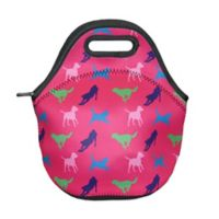 Tek Trek Neoprene Zippered Lunch Tote with Dog Images in Pink