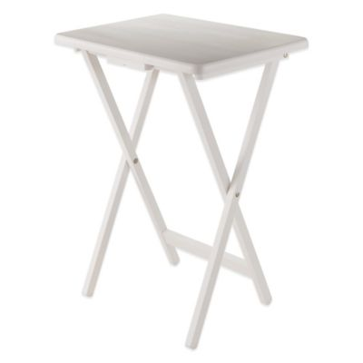 Solid Wood Folding Snack Table In White