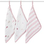 aden + anais® Heartbreaker 3-Pack Washcloth Set in Pink/White
