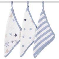 aden + anais® Rock Star 3-Pack Washcloth Set in Blue/White